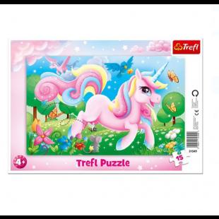 Puzzle Trefl - Unicorn roz, 15 piese, Trefl - Activitati pentru copii (4+)