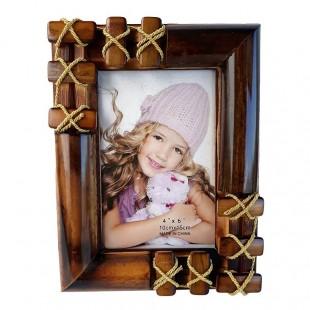 Rama foto din lemn cu impletituri din sfoara