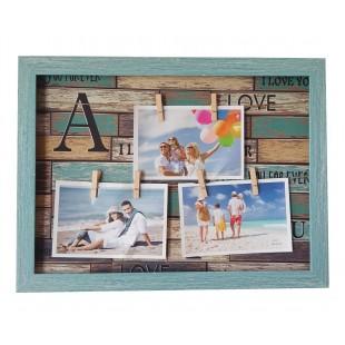 Rama foto tablou albastru - I Love you forever, 3 poze (40x30x2.5 cm)