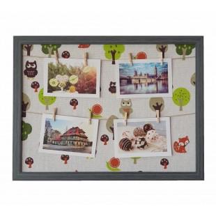Rama foto tablou gri inchis - bufnite 4 poze (43x32.5x2 cm)