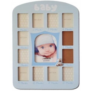 Rama foto bebe 13 poze (lemn), albastra - (33x40x1 cm)