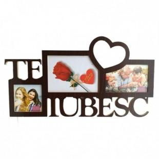 Rama foto din lemn maro - TE IUBESC - 3 poze (50x27 cm)
