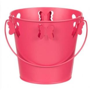 Masca pentru ghiveci, de metal, roz, in forma de galeata - Fluturi 3D (16x14.5cm)
