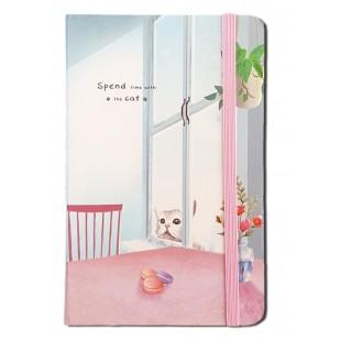 Caiet pentru femei - Pisica, roz ( 9x14x1.5 cm )