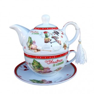 Set ceainic ceramica cu motiv Craciun