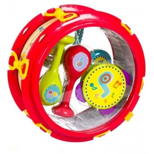 Set Instrumente muzicale - Toba, Tamburina, Maracas, 7 piese (Jucarii pentru copii 2+)