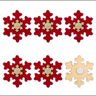 Autocolante decorative de Craciun - Fulgi de zapada rosii, 6 buc. (3+)
