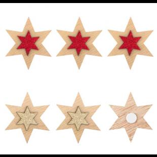 Autocolante decorative de Craciun - Stea din lemn, 6 buc.