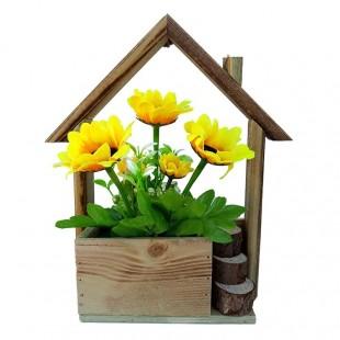 Ornament - Suport lemn cu floarea-soarelui (22x27 cm)