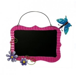 Decoratiune agatatoare pentru gradina - Tabla cu fluture si flori (34x31x cm)