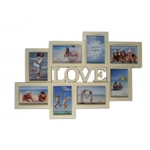 Rama foto colaj - Love 8 poze bej (52x33x2 cm)
