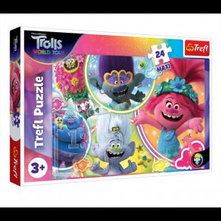Puzzle Trefl - Trolls, 24 piese MAXI - Activitati pentru copii (3+)