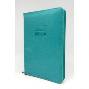 Szent Biblia - Közepes Biblia, Türkiz, Cipzárral, Károli Gáspár, Forditása (Biblia medie in lb. maghiara, fermoar)