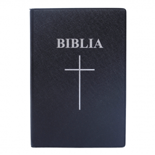 Biblia marime medie,neagra, coperta flexibila, margini albe, index, harti, simbol cruce [SI 057 CMÎ