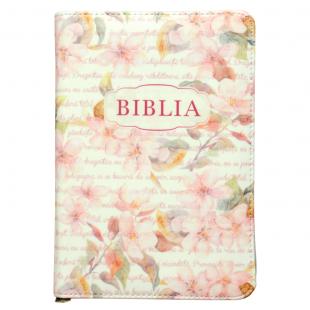 Biblie marime medie, piele ecologică, model roz floral, fermoar, index, margini aurii, hărți, cuv. lui Isus cu rosu [055 ZTI F]