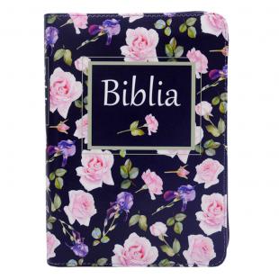 Biblie marime medie, piele ecologică, model inchis floral, fermoar, index, margini aurii, hărți, cuv. lui Isus cu roșu [055 ZTI F]