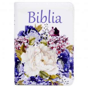 Biblie marime medie, piele ecologică, model alb floral, fermoar, index, margini argintii, hărți, cuv. lui Isus cu roșu [055 ZTI F]
