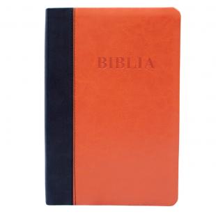 Biblia mărime mare, coperta imitatie piele, bleu | portocaliu, fără fermoar, index, margini aurii, hărți [075 TI]