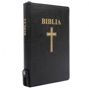 Biblia mărime mare, piele, neagră, margini aurii, index, fermoar cu capsă, hărți biblice, simbol cruce, cuv. lui Isus cu roșu [077 ZTI FIB]