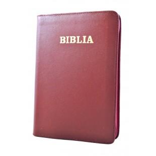 Biblia din piele, marime medie, visinie, fermoar, cuv. lui Isus cu rosu [053]