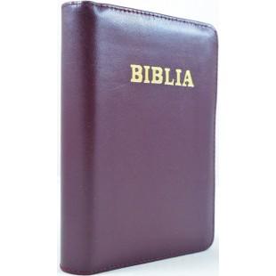 Biblie marime mica, piele, visiniu inchis, index, fermoar, margini aurii, cuv. lui Isus in rosu [047 PFI]