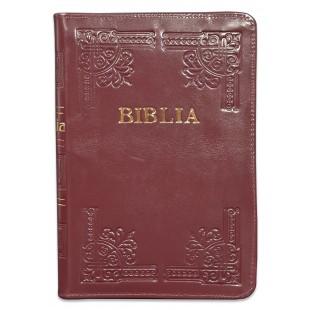 Biblia din piele, handmade, marime medie, culoare visiniu inchis, margini aurii cu index,fermoar, cuv. lui Isus cu rosu [057 HM]