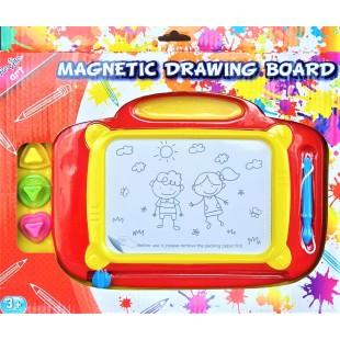 Tabla magnetica de scris cu 3 stampile, rosie (3+) (32x24cm)