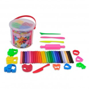 Plastilina in galeata, 25 culori + 4 matrite - Activitati pentru copii (3+)