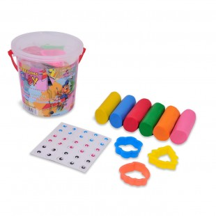 Plastilina in galeata, 6 culori + 3 matrite - Activitati pentru copii (3+)