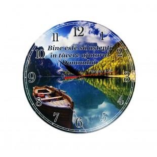 Ceas perete rotund cu mesaj crestin (30 cm) - Bine este să aștepți în tăcere