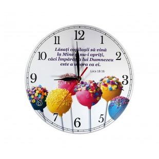 Ceas perete rotund cu mesaj creștin (30 cm) - Lăsați copilașii să vină la Mine