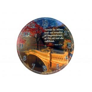 Ceas perete rotund cu mesaj creștin (30 cm) - Veniți la Mine toți cei trudiți
