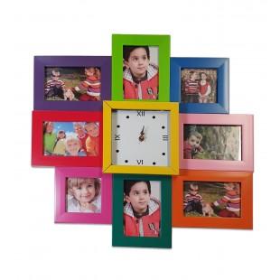 Rama foto colaj 8 poze cu ceas - colorat