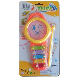Instrument muzical - Xilofon, portocaliu (Jucarii pentru copii 3+)